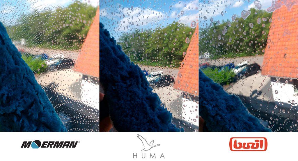 Test af forskellige vinduessæber hvor skummen på vinduet er synligt